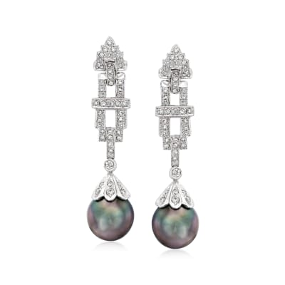 C. 2000 Vintage 4.5mm Black Cultured Pearl and .50 ct. t.w. Diamond Drop Earrings in 18kt White Gold