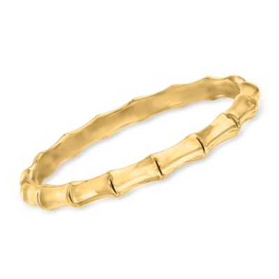Italian Andiamo 14kt Yellow Gold Over Resin Bamboo Bangle Bracelet