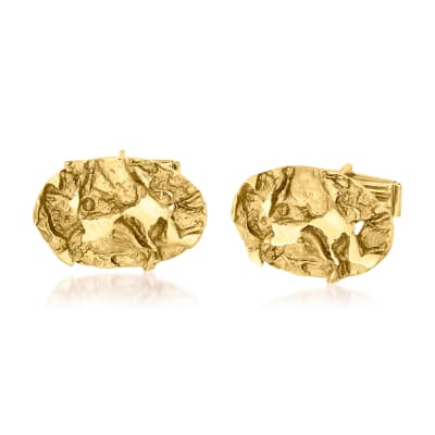 C. 1970 Vintage Men's 14kt Yellow Gold Nugget Oval Cuff Links