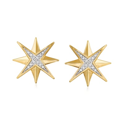 .10 ct. t.w. Diamond Star Earrings in 14kt Yellow Gold