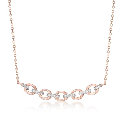 .25 ct. t.w. Diamond Paper Clip Link Necklace in 14kt Rose Gold