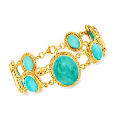 Italian Green Venetian Glass and Amazonite Bracelet in 18kt Gold Over Sterling
