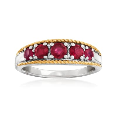 .80 ct. t.w. Ruby Five-Stone Ring with Diamond Accents in Sterling Silver and 14kt Yellow Gold