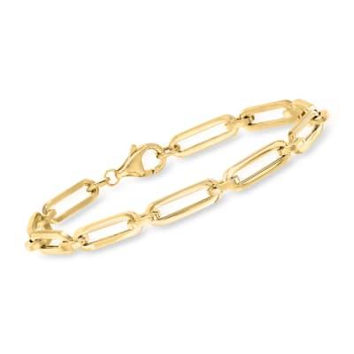 Italian 18kt Yellow Gold Paper Clip Link Bracelet