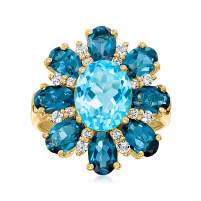 3.20 Carat Swiss Blue Topaz and 4.40 ct. t.w. London Blue Topaz Ring with .40 ct. t.w. White Topaz in 18kt Gold Over Sterling