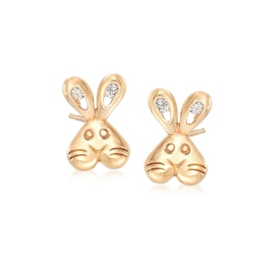 Child's 14kt Yellow Gold CZ-Accented Bunny Stud Earrings