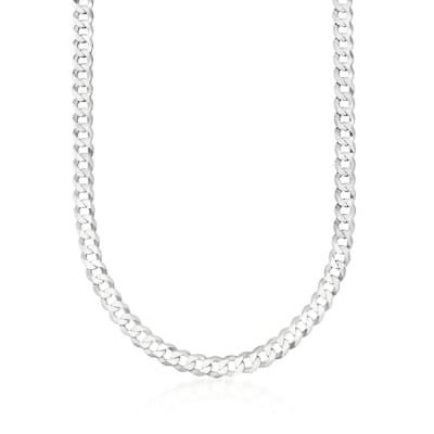 Men's 8mm Sterling Silver Curb Link Necklace