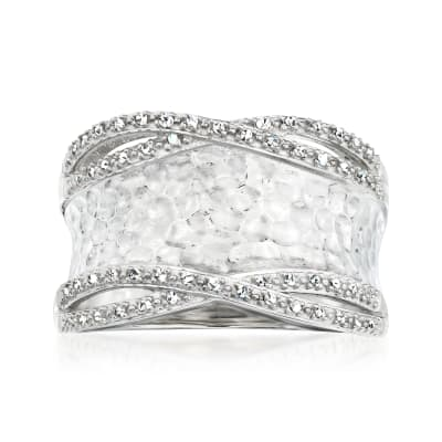 .13 ct. t.w. Diamond Hammered Ring in Sterling Silver