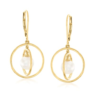 7-7.5mm Cultured Pearl Open-Circle Drop Earrings in 18kt Gold Over Sterling