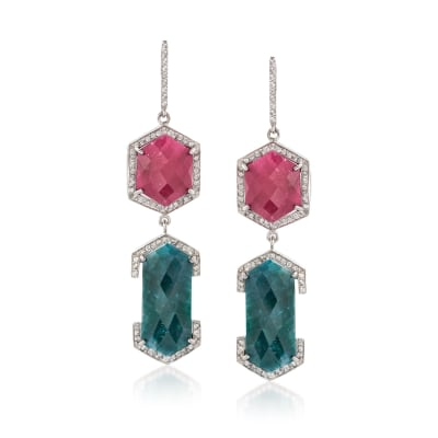 50.20 ct. t.w. Multi-Stone Drop Earrings in Sterling Silver