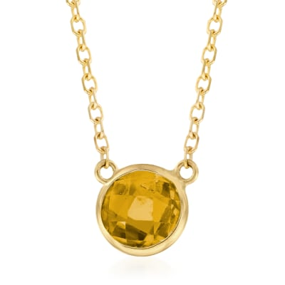.90 Carat Citrine Necklace in 14kt Yellow Gold