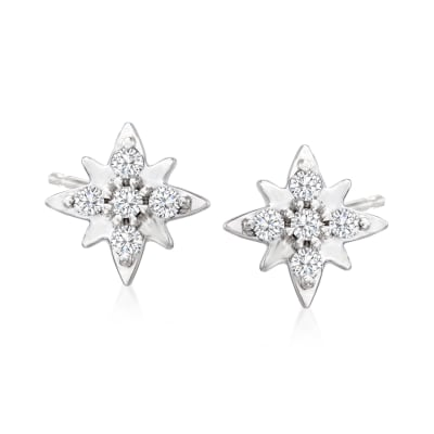 Diamond-Accented Star Stud Earrings in Platinum