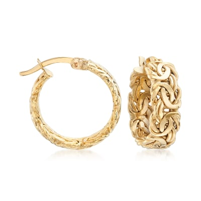 18kt Yellow Gold Byzantine-Link Hoop Earrings