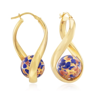 Italian Blue Murano Glass Bead Twisted Hoop Earrings in 18kt Gold Over Sterling