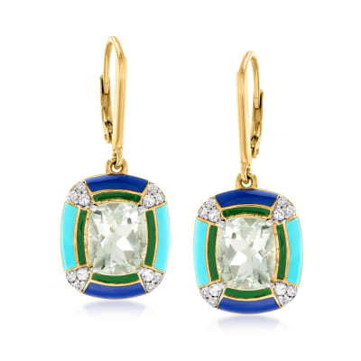 5.00 ct. t.w. Prasiolite and .40 ct. t.w. White Topaz Drop Earrings in 18kt Gold Over Sterling in Multicolored Enamel