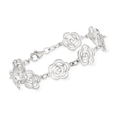 Italian Sterling Silver Cut-Out Roses Bracelet
