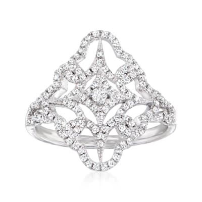 .58 ct. t.w. Diamond Starburst Openwork Ring in 14kt White Gold