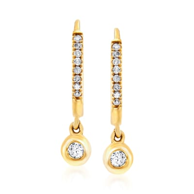 .14 ct. t.w. Diamond Charm Petite Hoop Earrings in 14kt Yellow Gold