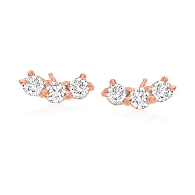 .31 ct. t.w. Diamond Curved Bar Stud Earrings in 14kt Rose Gold
