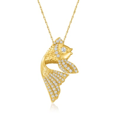 .50 ct. t.w. Diamond Fish Pendant Necklace in 18kt Gold Over Sterling