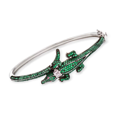 Green CZ Alligator Bangle Bracelet in Sterling Silver