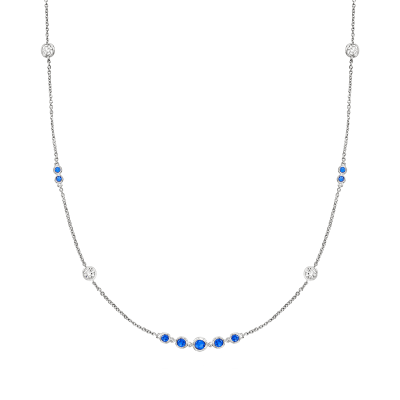 .70 ct. t.w. Simulated Sapphire and .60 ct. t.w. CZ Station Necklace in Sterling Silver