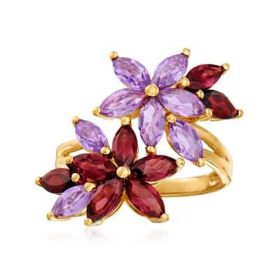 1.40 ct. t.w. Rhodolite Garnet, 1.20 ct. t.w. Amethyst and .50 ct. t.w. Garnet Flower Ring in 18kt Gold Over Sterling