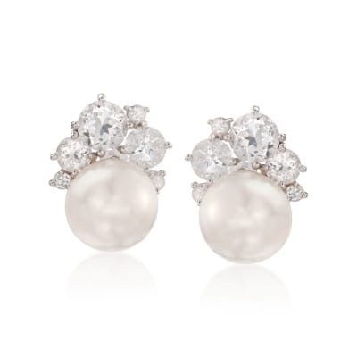 12.5-13mm Cultured Pearl and 6.75 ct. t.w. White Topaz Earrings in Sterling Silver