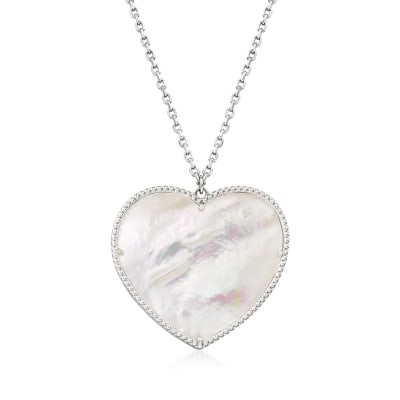 Mother-Of-Pearl Heart Pendant Necklace in Sterling Silver