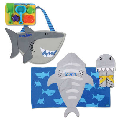 Shark-Themed Personalized Hooded Towel and 5-pc. Beach Tote Set