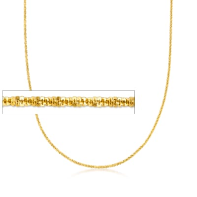 Italian 1.5mm 18kt Gold Over Sterling Adjustable Crisscross Chain