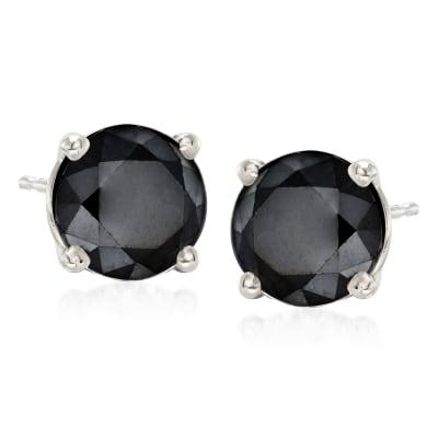 3.00 ct. t.w. Black Diamond Stud Earrings in 14kt White Gold