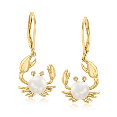 7mm Cultured Pearl Crab Drop Earrings with Diamond Accents in 18kt Gold Over Sterling