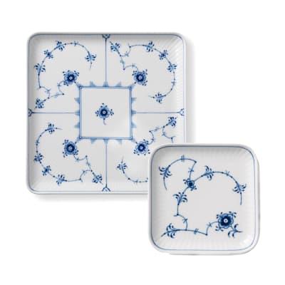 """Royal Copenhagen """"Blue Fluted Plain"""" Porcelain Square Plate"""
