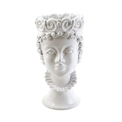 "Vietri ""Sicilian Head"" Large White Queen Head from Italy"