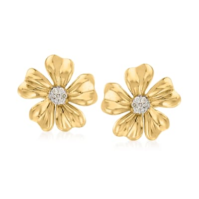 C. 1990 Vintage .35 ct. t.w. Diamond Flower Earrings in 14kt Yellow Gold