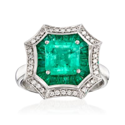 3.20 ct. t.w. Emerald and .17 ct. t.w. Diamond Ring in 14kt White Gold