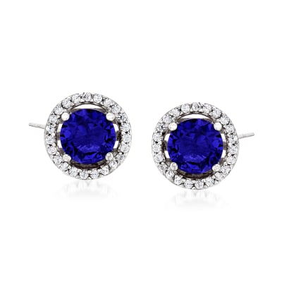 1.60 ct. t.w. Simulated Sapphire and .20 ct. t.w. CZ Earrings in Sterling Silver