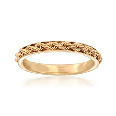 Italian 14kt Yellow Gold Rope-Design Ring