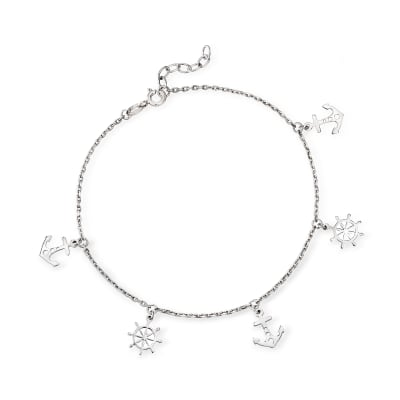 Sterling Silver Nautical Charm Anklet