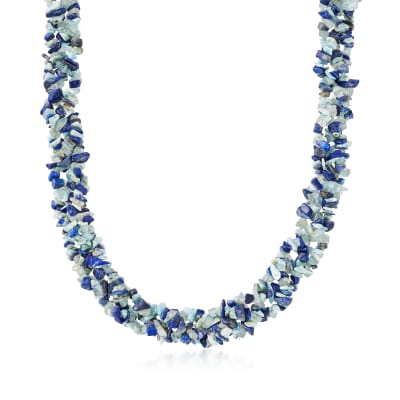 3-6mm Larimar and Lapis and 120.00 ct. t.w. Aquamarine Torsade Necklace with 18kt Gold Over Sterling