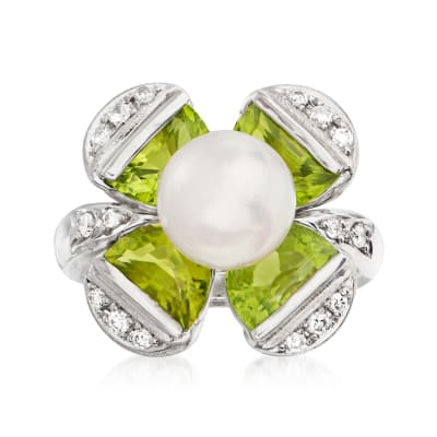 C. 2000 Vintage 8.5mm Cultured Pearl and 3.95 ct. t.w. Peridot Flower Ring with .17 ct. t.w. Diamonds in Platinum