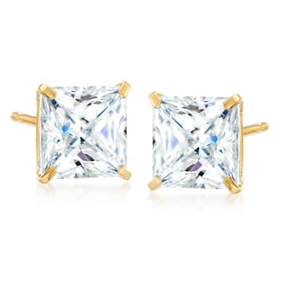 4.00 ct. t.w. Princess-Cut CZ Stud Earrings in 14kt Yellow Gold