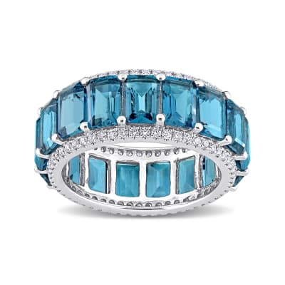 9.40 ct. t.w. London Blue Topaz Eternity Band with .57 ct. t.w. Diamonds in 14kt White Gold