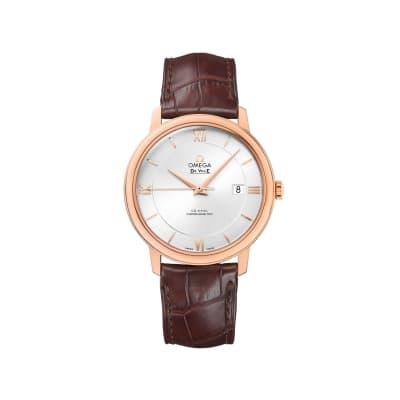 Omega De Ville Prestige Men's 39.5mm 18kt Rose Gold Watch with Brown Leather Strap