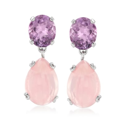17.00 ct. t.w. Rose Quartz and 8.75 ct. t.w. Amethyst Drop Earrings in Sterling Silver