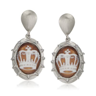 Italian .20 ct. t.w. CZ Crown Cameo Drop Earrings in Sterling Silver