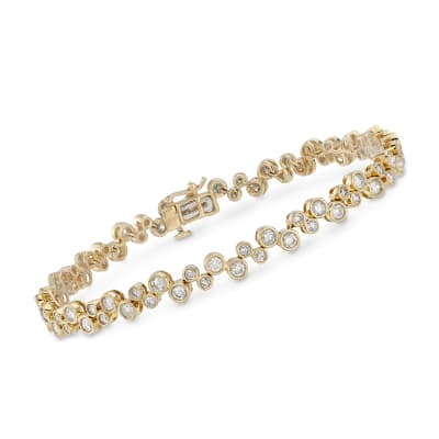 3.00 ct. t.w. Bezel-Set Diamond Bubble Bracelet in 14kt Yellow Gold