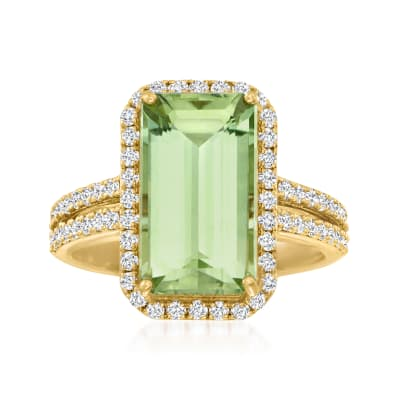 5.70 Carat Green Tourmaline Ring with .88 ct. t.w. Diamonds in 18kt Yellow Gold
