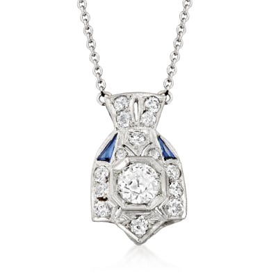 C. 1980 Vintage 1.15 ct. t.w. Diamond and .15 ct. t.w. Synthetic Sapphire Necklace in 14kt White Gold